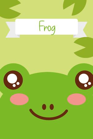 cute animal head frog ribbon decoration vector illustration Illustration