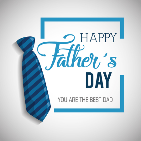 happy fathers day card with calligraphy and accessory vector illustration design Archivio Fotografico - 98231817