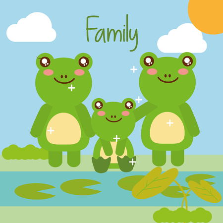 cute animals frog family in pond natural landscape vector illustration