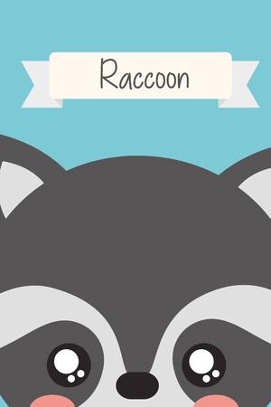 cute animal head raccoon ribbon decoration vector illustration