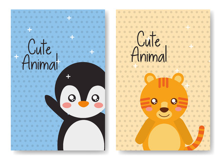 cute animal card tiger penguin cartoon shiny background vector illustration  イラスト・ベクター素材