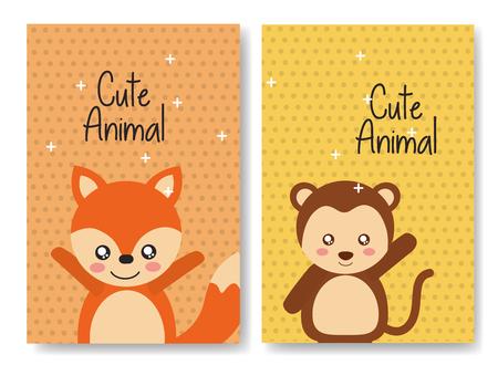 Mignon animal renard renard carte de bande dessinée de fond brillant illustration vectorielle Banque d'images - 98231855