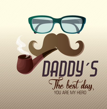 happy fathers day card with calligraphy and accessory vector illustration design