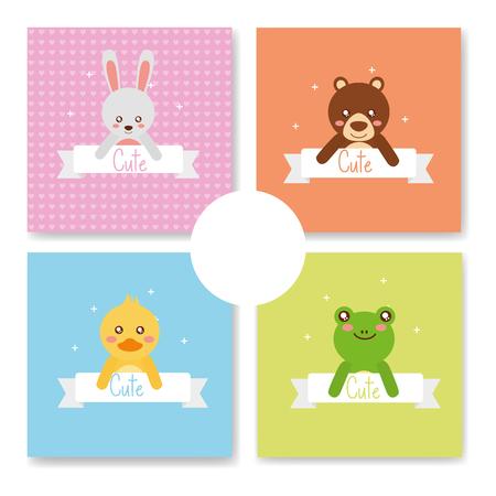 cute animal set rabbit bear duck frog babies cartoon vector illustration