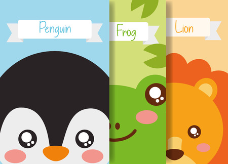 cute animal set penguin frog lion banner vector illustration Illustration