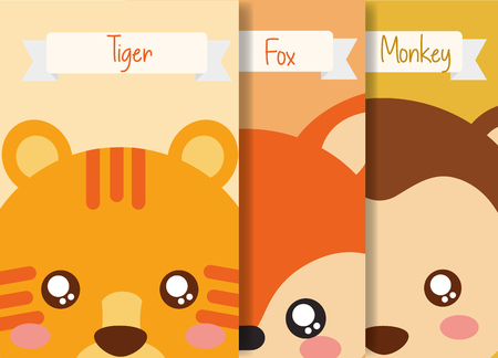 cute animal set tiger fox monkey banner vector illustration  イラスト・ベクター素材