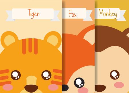 cute animal set tiger fox monkey banner vector illustration Vettoriali