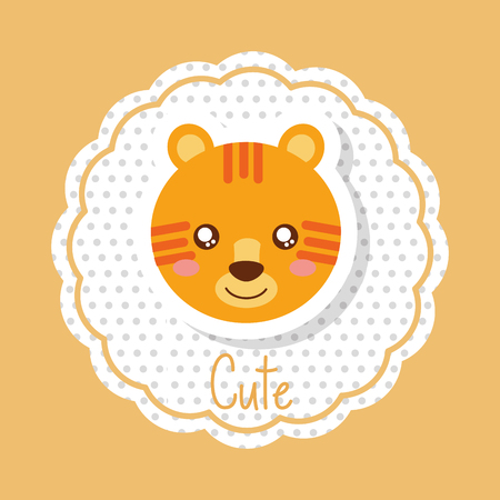 cute animal head tiger in delicate label decoration vector illustration