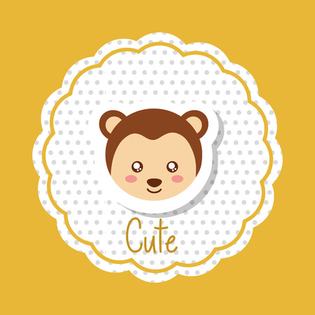 cute animal head monkey in delicate label decoration vector illustration