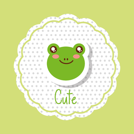 cute animal head frog in delicate label decoration vector illustration