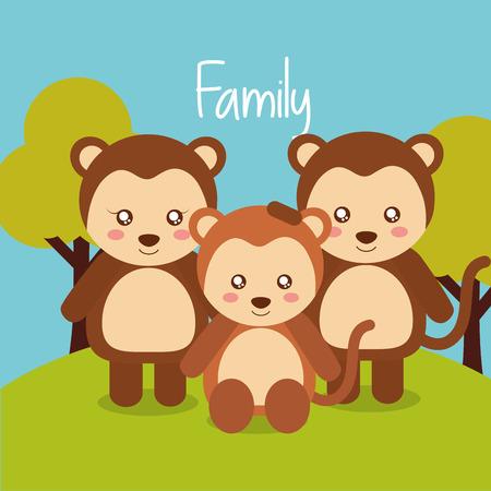 風景の森のベクターイラストでかわいい動物猿の家族