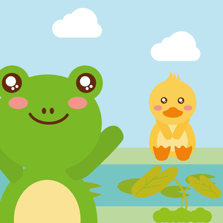 cute animals duck sitting frog waving hand character vector illustration Imagens - 98233491