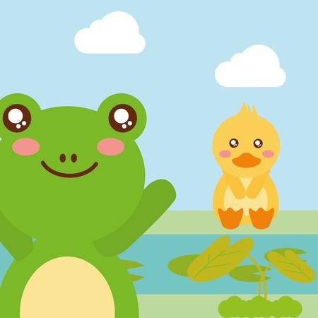 cute animals duck sitting frog waving hand character vector illustration