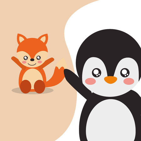 cute animals fox sitting penguin waving hand character vector illustration