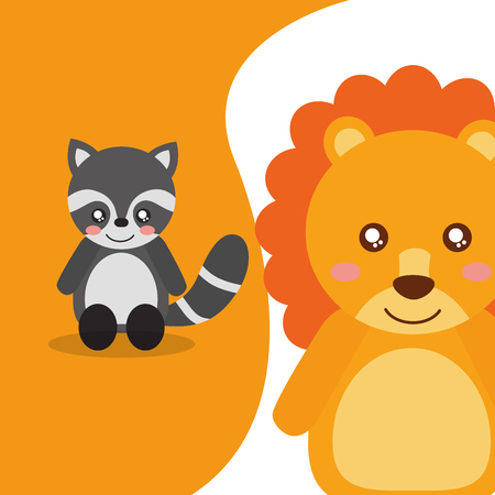 cute animals raccoon sitting lion character vector illustration