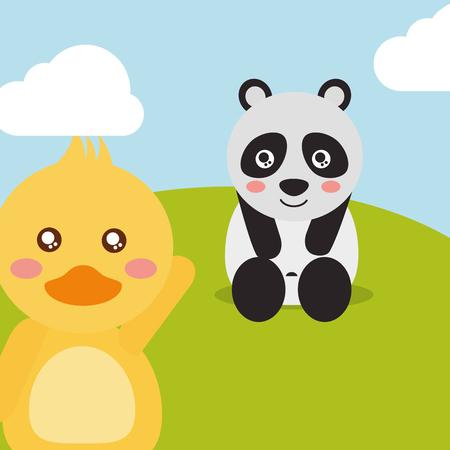 cute animals panda sitting duck waving hand character vector illustration