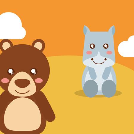 cute animals hippo sitting bear waving hand character vector illustration