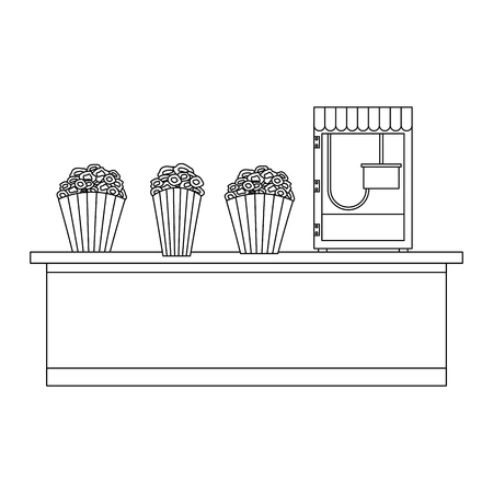 cinema food box office with machine pop corn vector illustration design Illustration