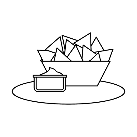 delicious nachos with sauce vector illustration design 向量圖像