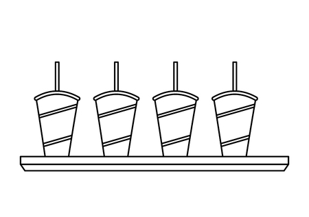 sodas in plastic cups and straws set vector illustration design Imagens - 98227051