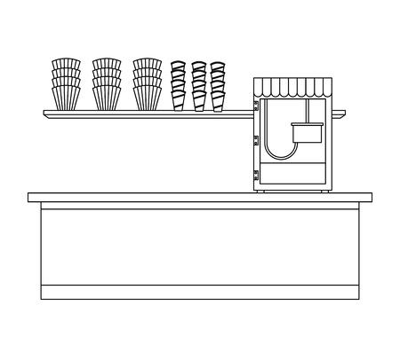 cinema food box office with machine pop corn vector illustration design Ilustração