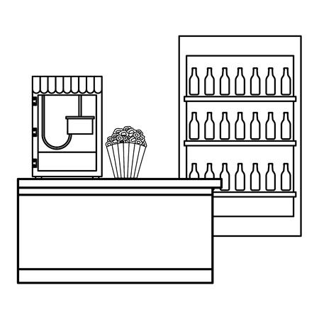 cinema food box office with machine pop corn vector illustration design Stock Vector - 98229533