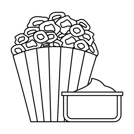 pop corn with sauce cinema icon vector illustration design