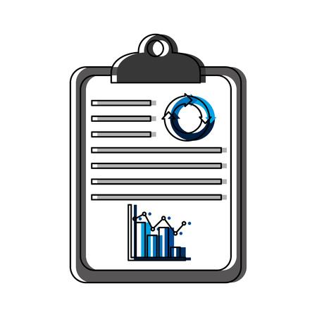 checklist with statistics icon vector illustration design