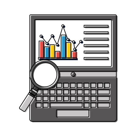 laptop with statistics graphic and magnifying glass vector illustration design Ilustração