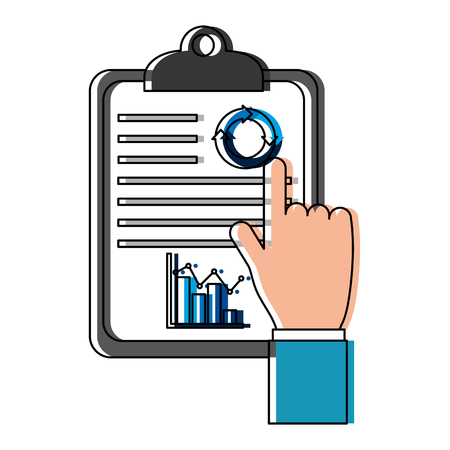 hand human with checklist vector illustration design