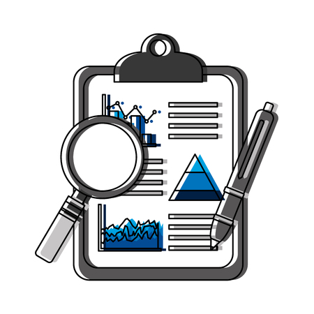 checklist with statistics and magnifying glass vector illustration design