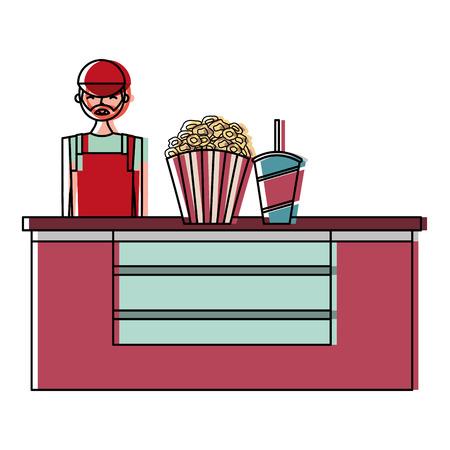 Boîte de café boîte de cinéma avec un vendeur illustration vectorielle design Banque d'images - 98250334