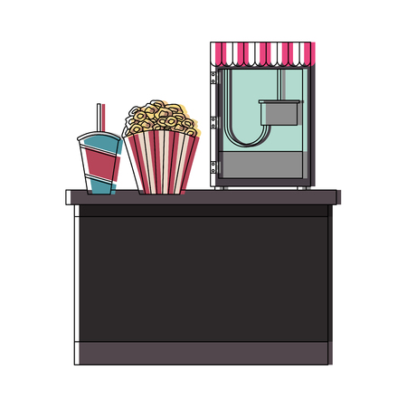 cinema food box office with machine pop corn vector illustration design Ilustração
