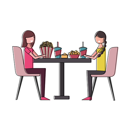 couple eating pop corn and soda in table vector illustration design Çizim