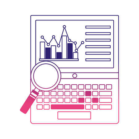 laptop with statistics graphic and magnifying glass vector illustration design Illusztráció