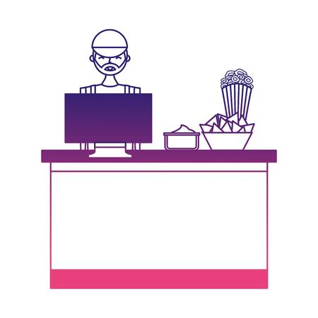 Boîte de café boîte de cinéma avec un vendeur illustration vectorielle design Banque d'images - 98251283