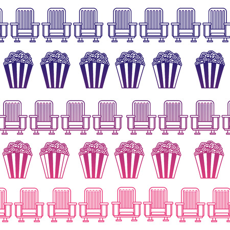 pop corn and chairs cinema pattern vector illustration design