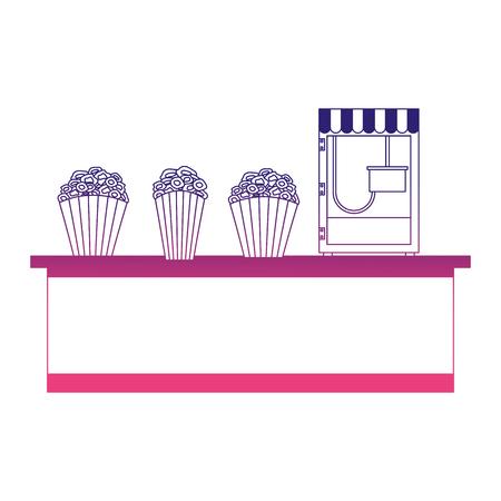 cinema food box office with machine pop corn vector illustration design Illustration