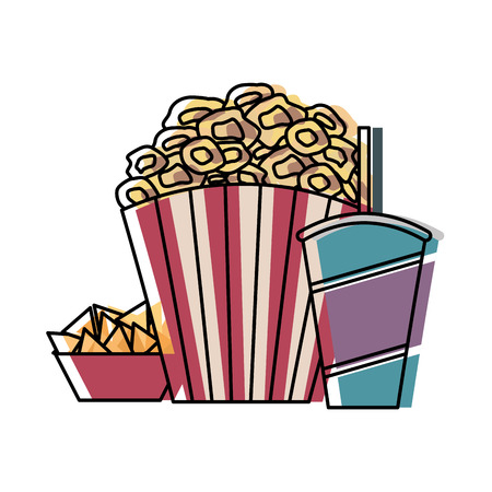 pop corn with soda and snacks cinema icon vector illustration design