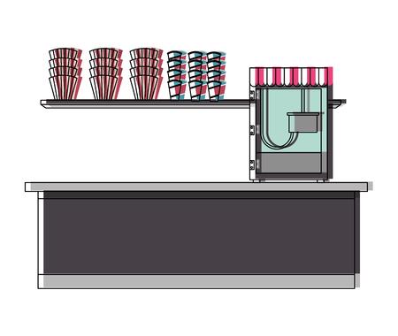 Le service de production de café avec machine pop illustration vectorielle de conception de maïs Banque d'images - 98230334