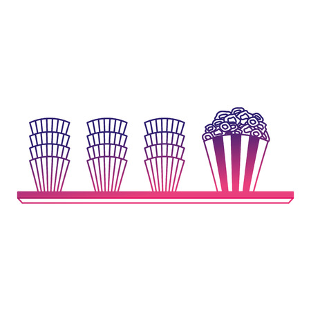 pop corn in shelf cinema icon vector illustration design 向量圖像