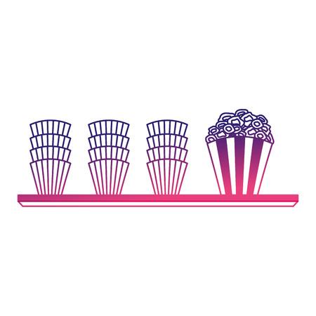 pop corn in shelf cinema icon vector illustration design 일러스트