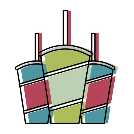 sodas in plastic cups and straws set vector illustration design
