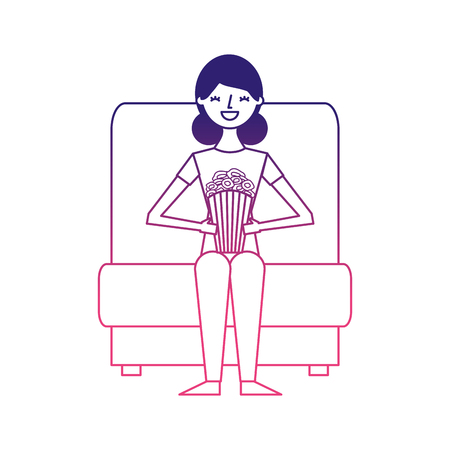 woman watching movie in cinema and eating snacks vector illustration design