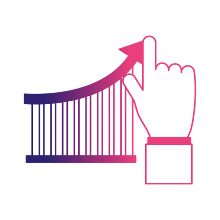 hand human with bars statistics vector illustration design Ilustração
