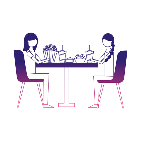 couple eating pop corn and soda in table vector illustration design Illustration
