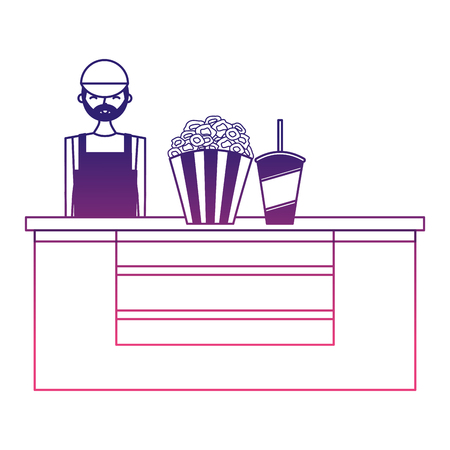 cinema food box office with salesman vector illustration design