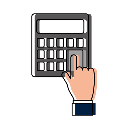 hand human with calculator vector illustration design Çizim