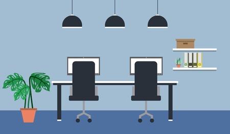 workspace interior - viewed back chairs desk pc shelf books plant vector illustration