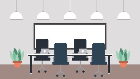 workspace interior - office meeting room table laptops chairs plants vector illustration 일러스트